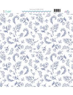 Tela lienzo flores azules