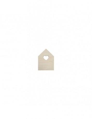 Casa con ventana corazón madera 18x25 cm