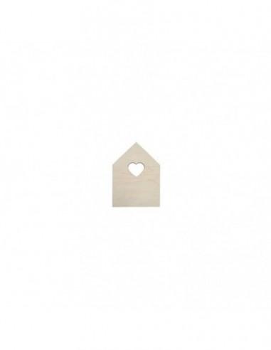 Casa con ventana corazón madera 13x18 cm