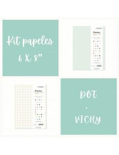"""Kit papeles 6x8"""" Dot+Vichy"""