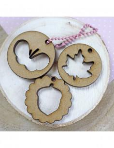 Set de medallones de madera...